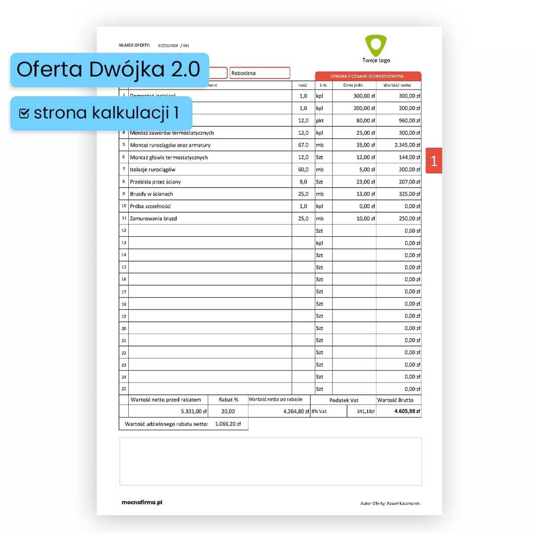 """""""DWÓJKA 2.0 B """" NOWY program do sporządzania ofert dla branży ogólnobudowlanej."""