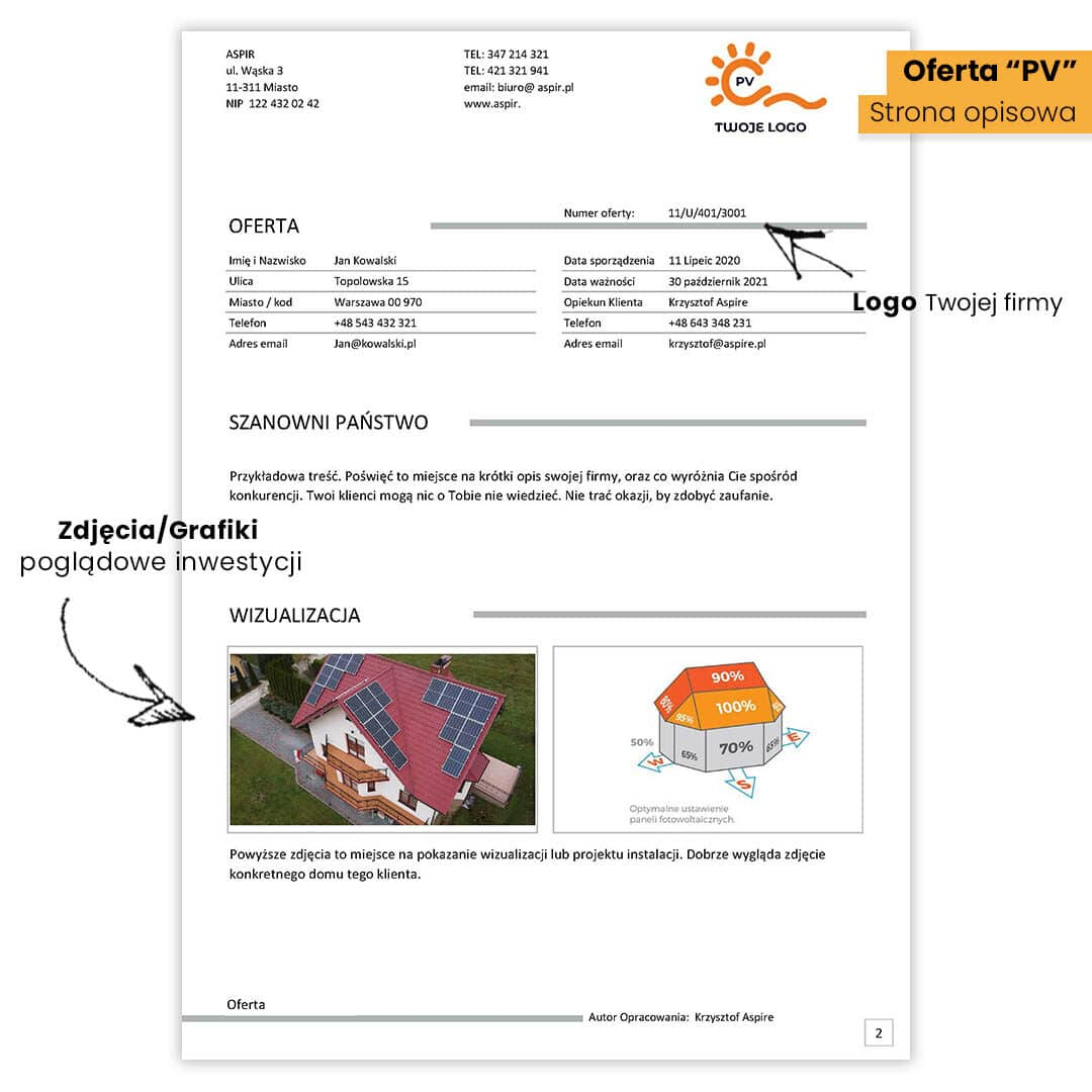 Program do ofertowania instalacji PV + Interaktywny formularz PV do zbierania danych od klienta