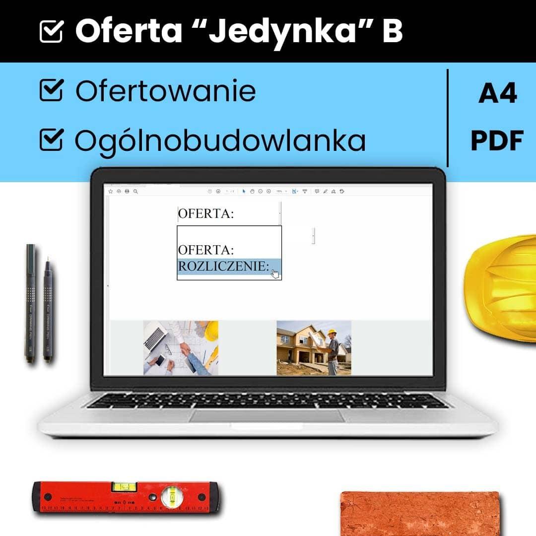 """""""JEDYNKA"""" B program do sporządzania ofert dla branży ogólnobudowlanej."""
