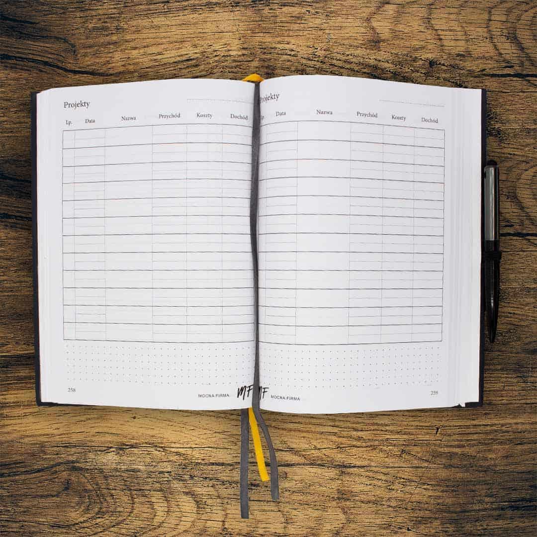 Planer Mocna Firma Tabela do zapisywania Projektów