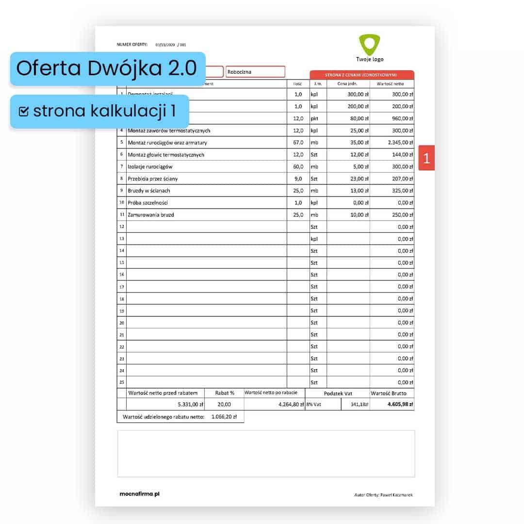 """""""DWÓJKA 2.0"""" Program do sporządzania ofert"""