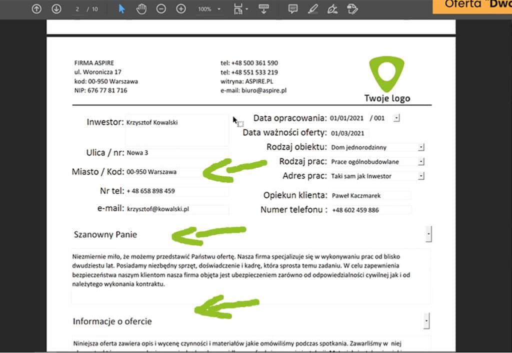 Program do ofert dla instalatorów . elektryków i budowlańców- Strona opisowa ofert