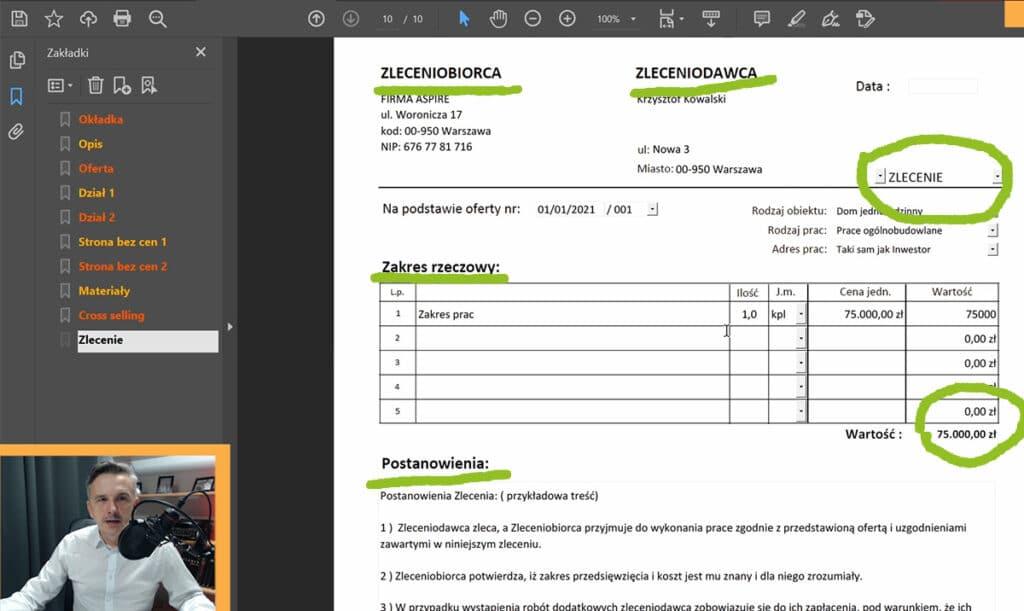 Program do ofert dla instalatorów . elektryków i budowlańców- Zintegrowane zlecenie na usługi uzupełnia się automatycznie.