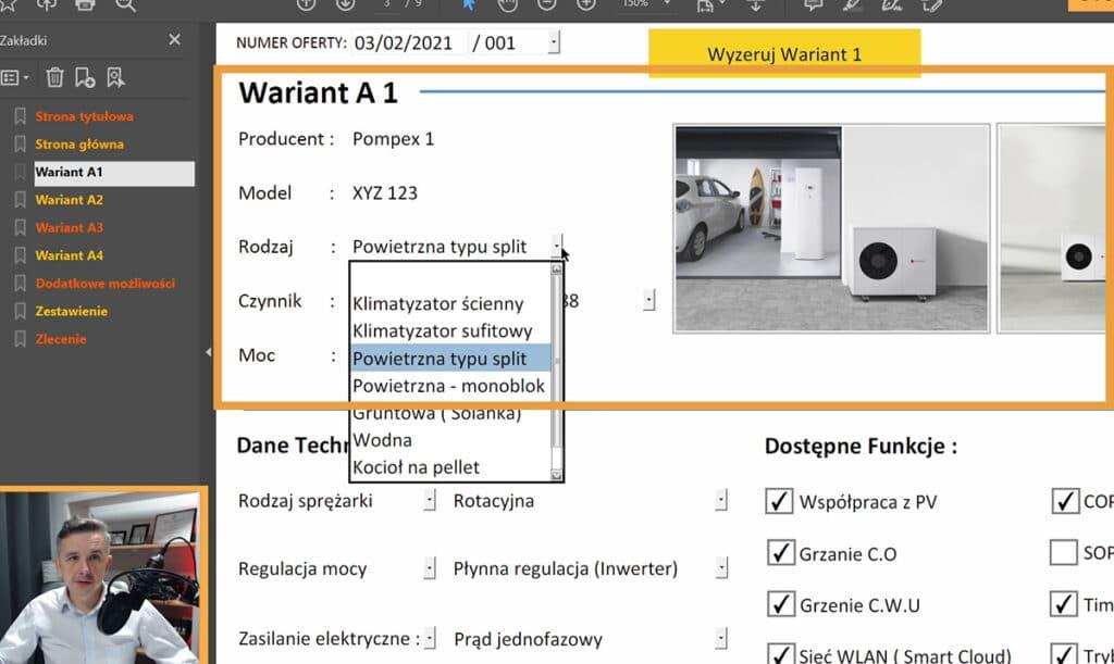 Program do ofertowania pomp ciepła z porównywarką - Sekcja opis urządzenia.