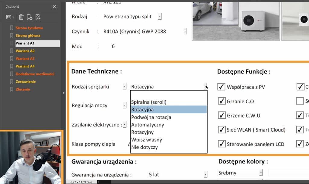Program do ofertowania pomp ciepła z porównywarką - Sekcja dane techniczne
