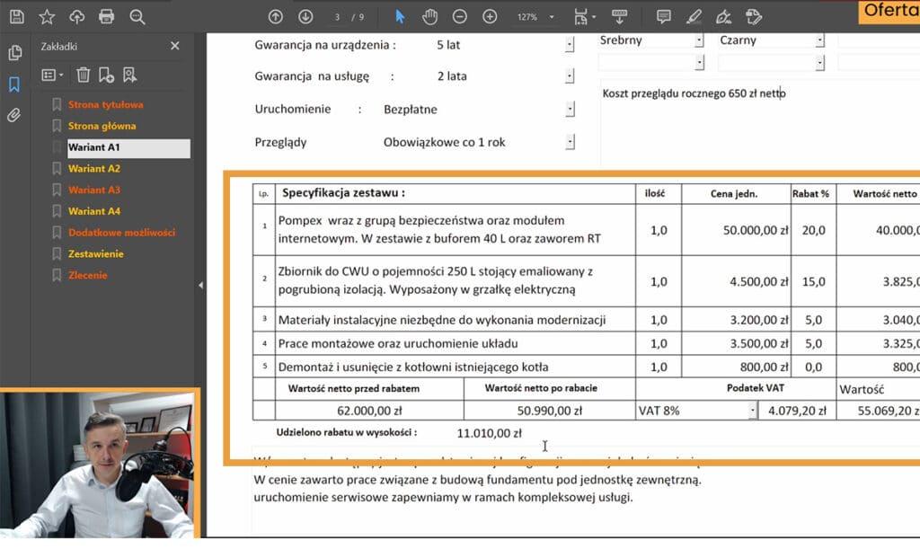 Program do ofertowania pomp ciepła z porównywarką - sekcja kalkulacja.