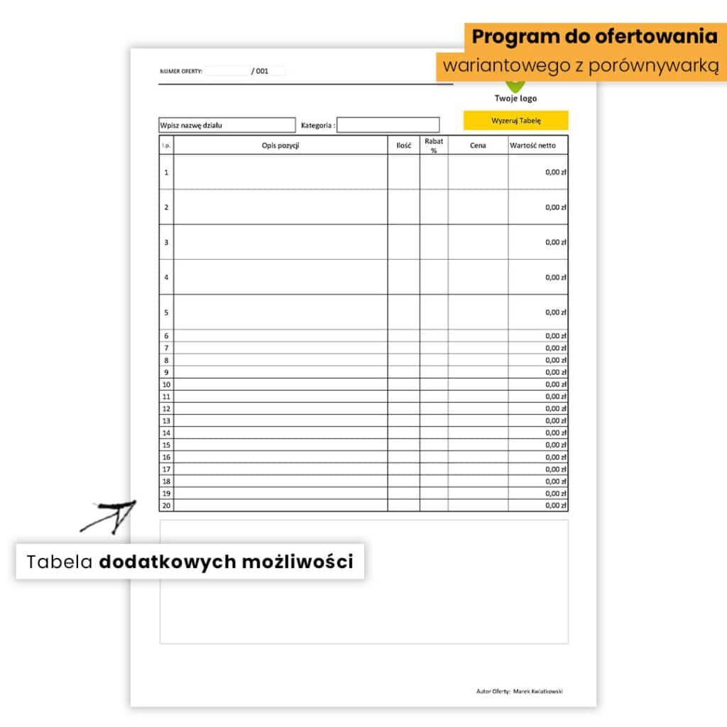 Program do ofertowania pomp ciepła z porównywarką - Tabela dodatkowych możliwości