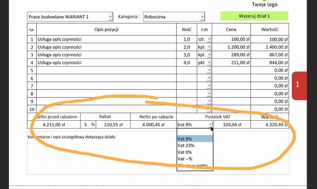 Program do ofert dla instalatorów, elektryków i budowlańców- Podsumowanie działu kalkulacyjnego